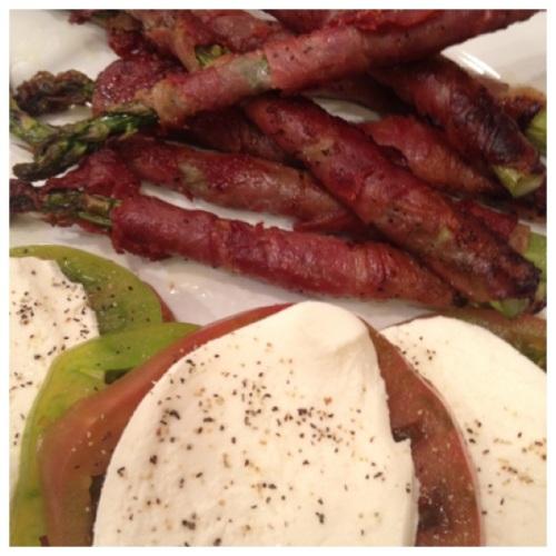 Proscuitto Wrapped Asparagus & Tomato w/ Mozzarella