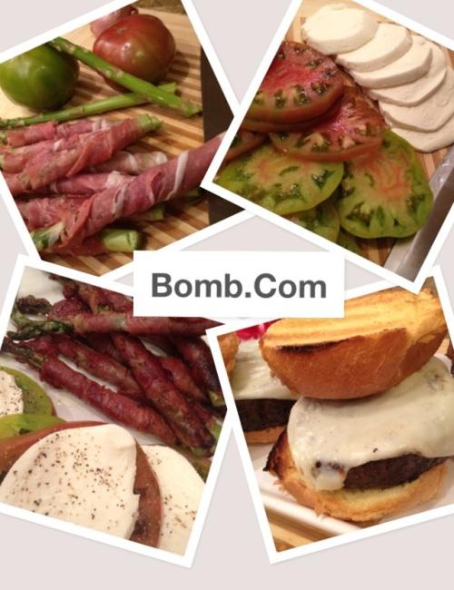 Kobe Burgers, Proscuitto Wrapped Asparagus & Tomato w/ Mozzarella