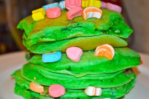 St. Patricks Day Lucky Charm Pancakes